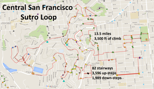 Sutro Loop - Google Rout Map with Legend