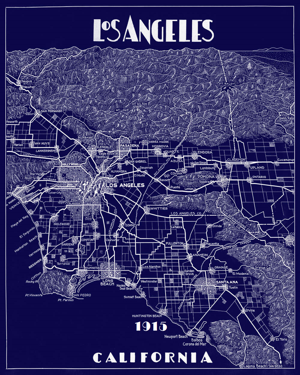 1915 Los Angeles Map-Navy Blue-with date added
