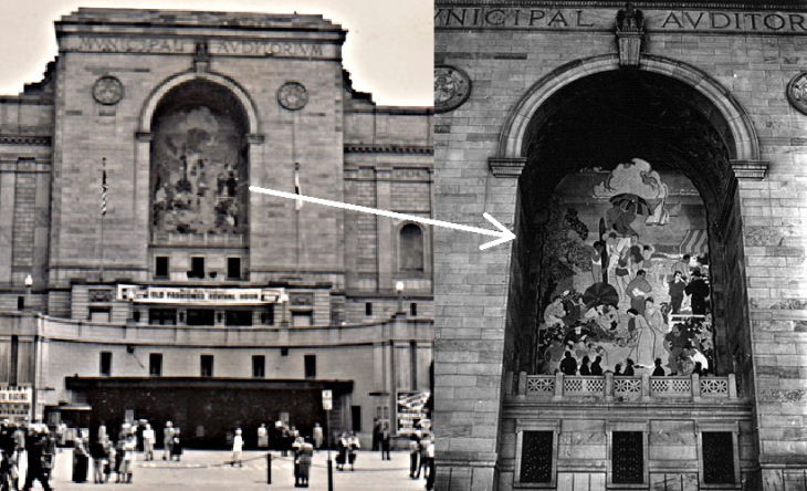 LB Auditorium WPA Mural in Facade - 2 images