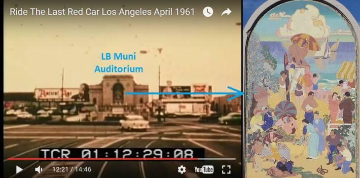 Red Car View of Long Beach Muni Auditorium - and WPA Mural