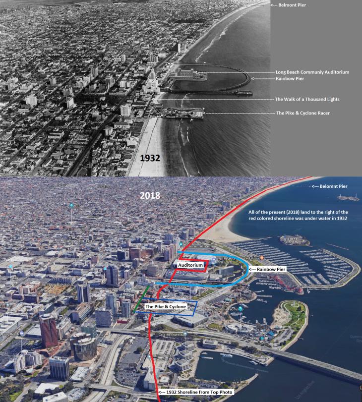 Long Beach Facing East - 1932 vs 2018