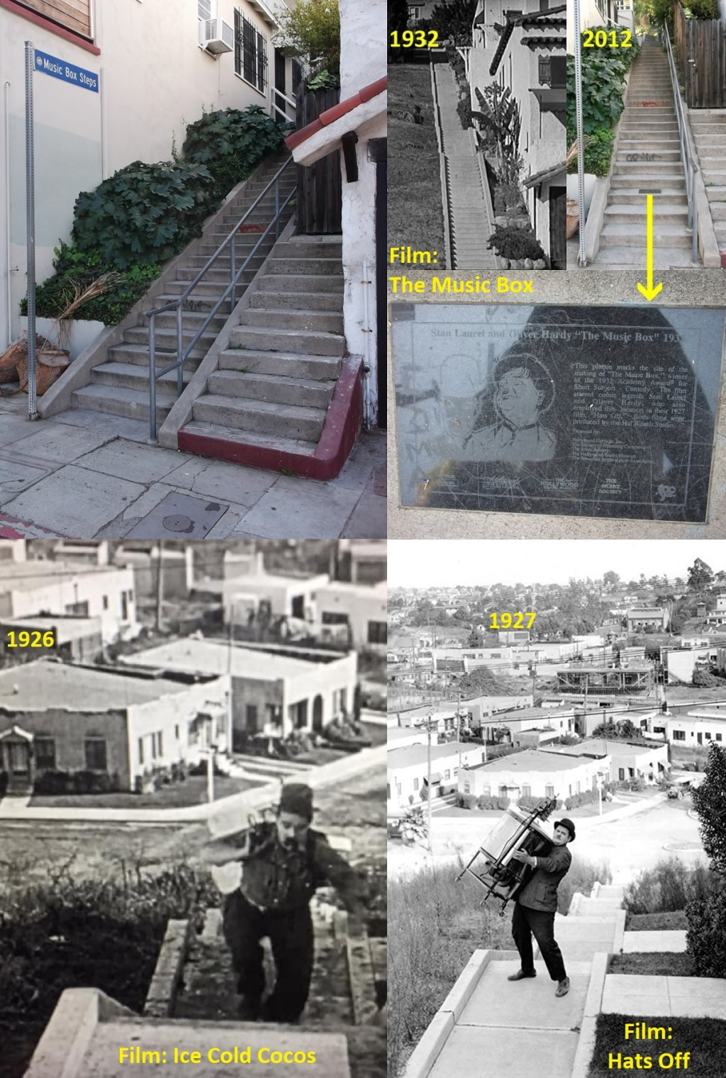 All three films on the Music Box Steps - 1926-1927-1932