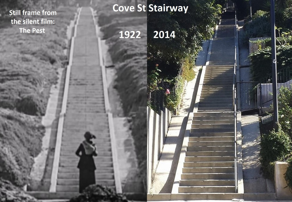 Cove St Stairway-The Pest 1922vs2014-with text